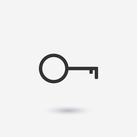 Key icon vector, flat style isolated on white background. Icon of flat round key illustration. Access, security and protection of property, information