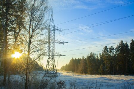 power lines pass through a winter forest with snowdrifts in the early winter morning with bright yellow rays and beams of the sun