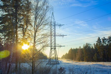 power lines pass through a winter forest with snowdrifts in the early winter morning with bright yellow rays of the sun