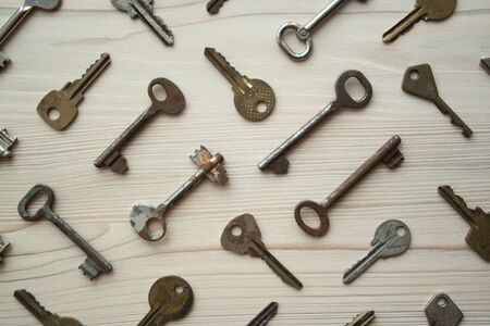 Top view of many old rusty keys background. Many keys Access, security, enter, choice, solutions of problems concept, symbol Reklamní fotografie