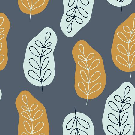 Floral seamless pattern in orange green colors for package design, web, fabric, wrapping paper, gifts. leaves wallpaper for background in trendy cute hand drawn style