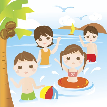 frutas divertidas: Familia que juega y nadando en el mar durante las vacaciones de verano