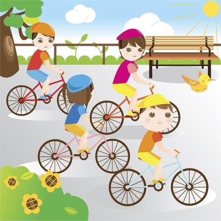 family clipart: Famiglia in bicicletta nel parco Vettoriali