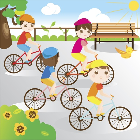 riding bike: Family riding bicycle in the park Illustration