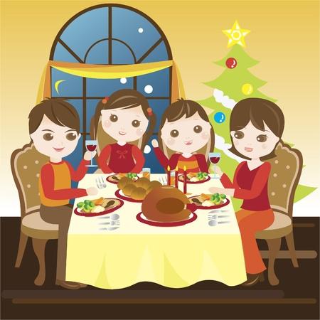 Family having christmas dinner together Vector Illustration
