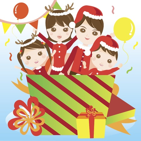 Family in christmas costume giving surprise Stock Vector - 10715052