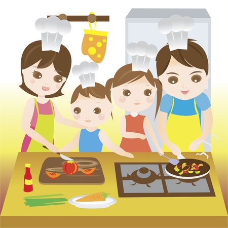 Family cooking together happily