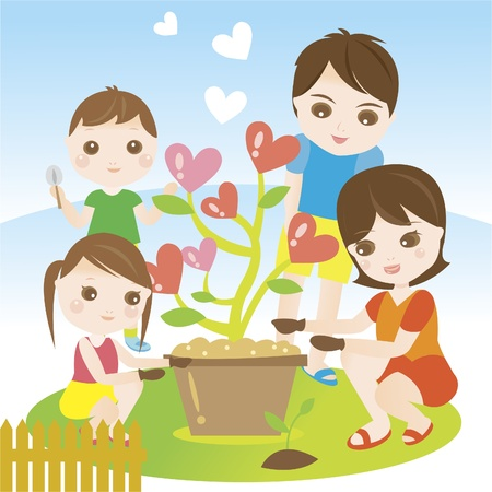 family gardening: Family planting and gardening with love Illustration