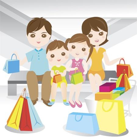 family clipart: Acquisti famiglia durante le vendite in complesso commerciale Vettoriali