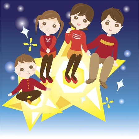 Family sitting on the star happily