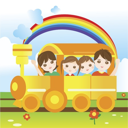Happy family riding train Vector