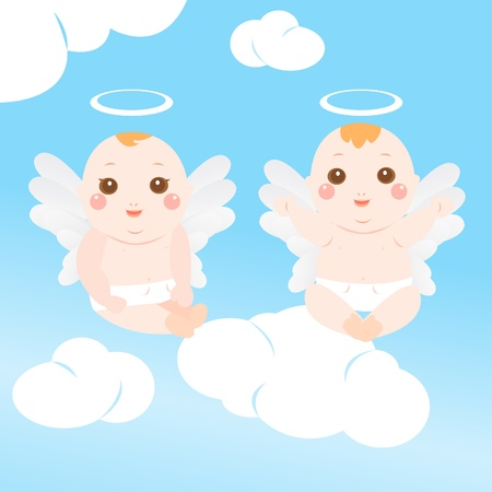 two cute angel baby Vector