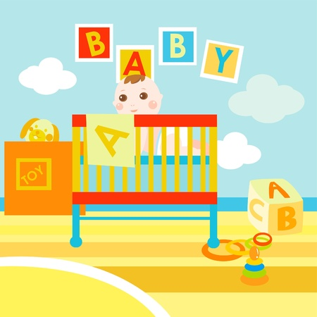 dormir habitaci�n: ABC del beb� habitaci�n Vectores