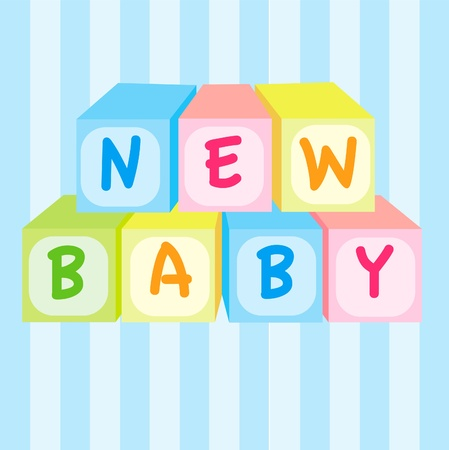 new born baby boy: new baby shower card Illustration