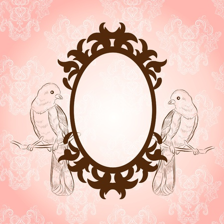 beautiful vintage frame with lovely birds Vector