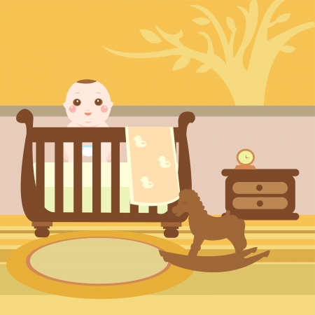 baby wooden room Vector