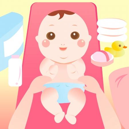 baby changing diaper Vettoriali
