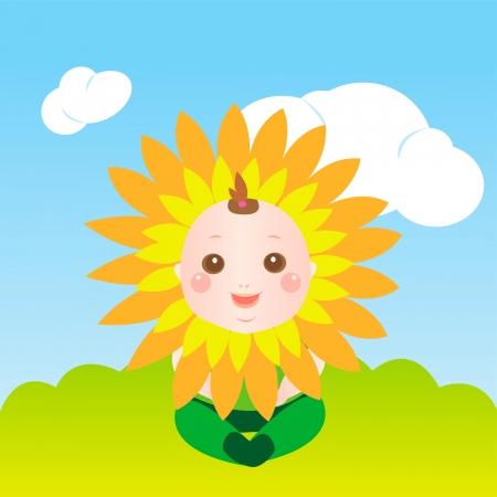 cute sunflower baby Vector