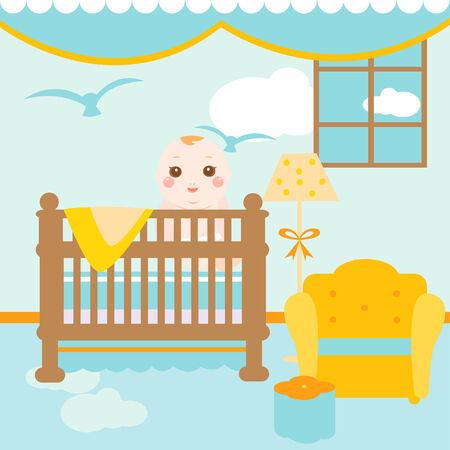 baby playing toy: baby relaxing room Illustration