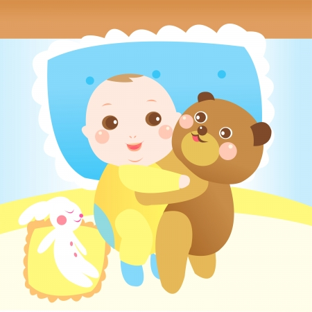 baby hugging teddy bear on the bed Stock Vector - 22822713
