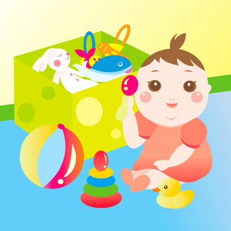 cute baby playing toy Vector
