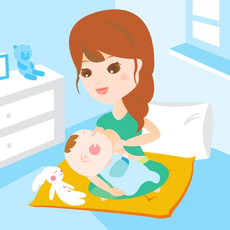 mom breast feeding baby Illustration