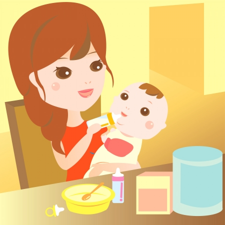 mom feeding milk to baby Vector