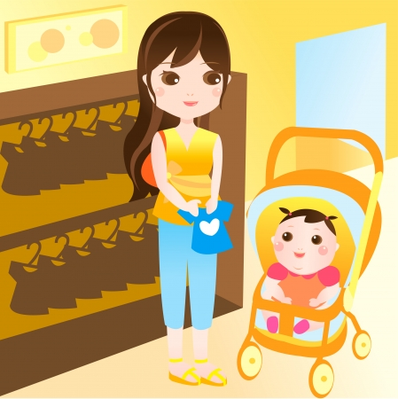 mom and baby happy shopping Vector