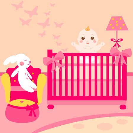 sleeping girl: baby lovely room