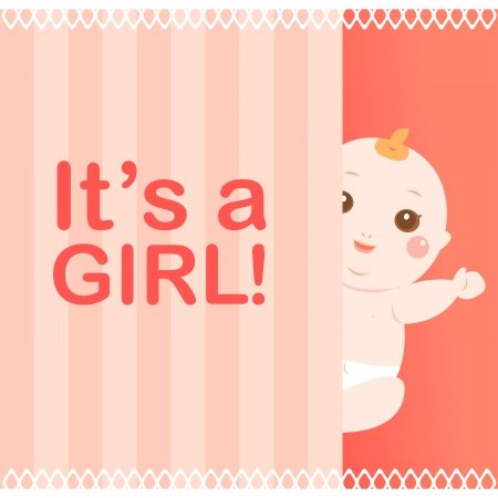 it s a girl baby card Vector