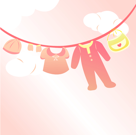 baby girl clothing card Vector