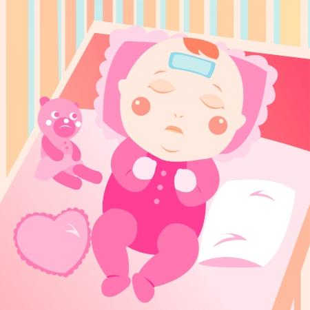 bébé malade sur le lit