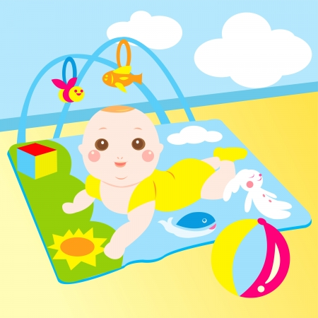 baby playing toy: cute baby playing toy happily