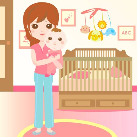 baby and mom in the bedroom Vector