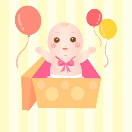baby gift: baby pop up from gift box Illustration