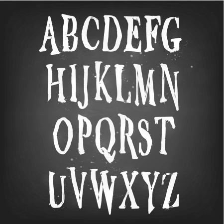 typeface: Spooky, Halloween, Scary and Magical Alphabet Set Illustration