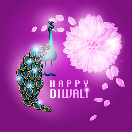 Happy Diwali Beautiful Peacock Vector Design Illustration Vector