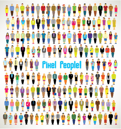 a large group of pixel people gather together vector icon design