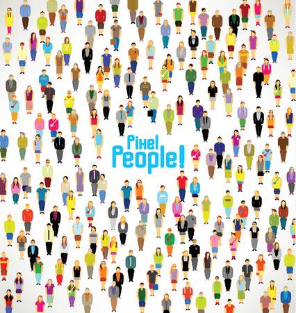 人: 一大群像素的人聚集在一起矢量圖標設計