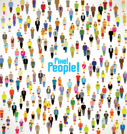 pixels: a large group of pixel people gather together vector icon design