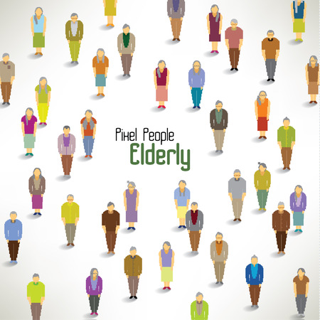 a large group of elderly gather together vector icon design