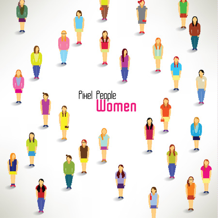 a large group of women gather together vector icon design Vector