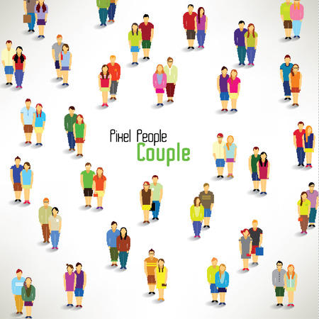 citizens: a large group of couples gather together vector icon design