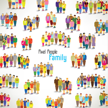 a large group of families gather together vector icon design Vector