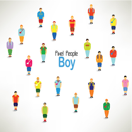 group of old people: a large group of boys gather together vector icon design