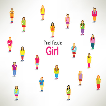 a large group of girls gather together vector icon design Vector