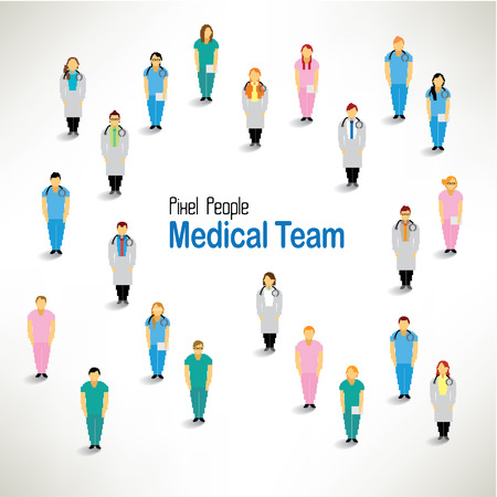 의료 팀의 큰 그룹 벡터 아이콘 디자인들이 함께 모여 일러스트