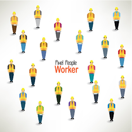 gather: a large group of worker gather together vector icon design Illustration