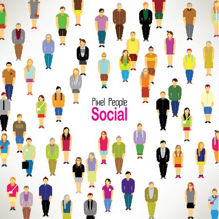 Un grand groupe de personnes pixels rassembler vecteur icône du design Banque d'images - 23042200