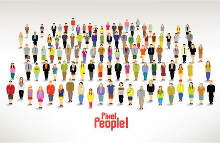 ピクセルの人々 の大規模なグループを収集一緒にベクトル アイコン デザイン